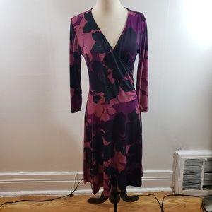 CAbi | Purple and black faux wrap dress
